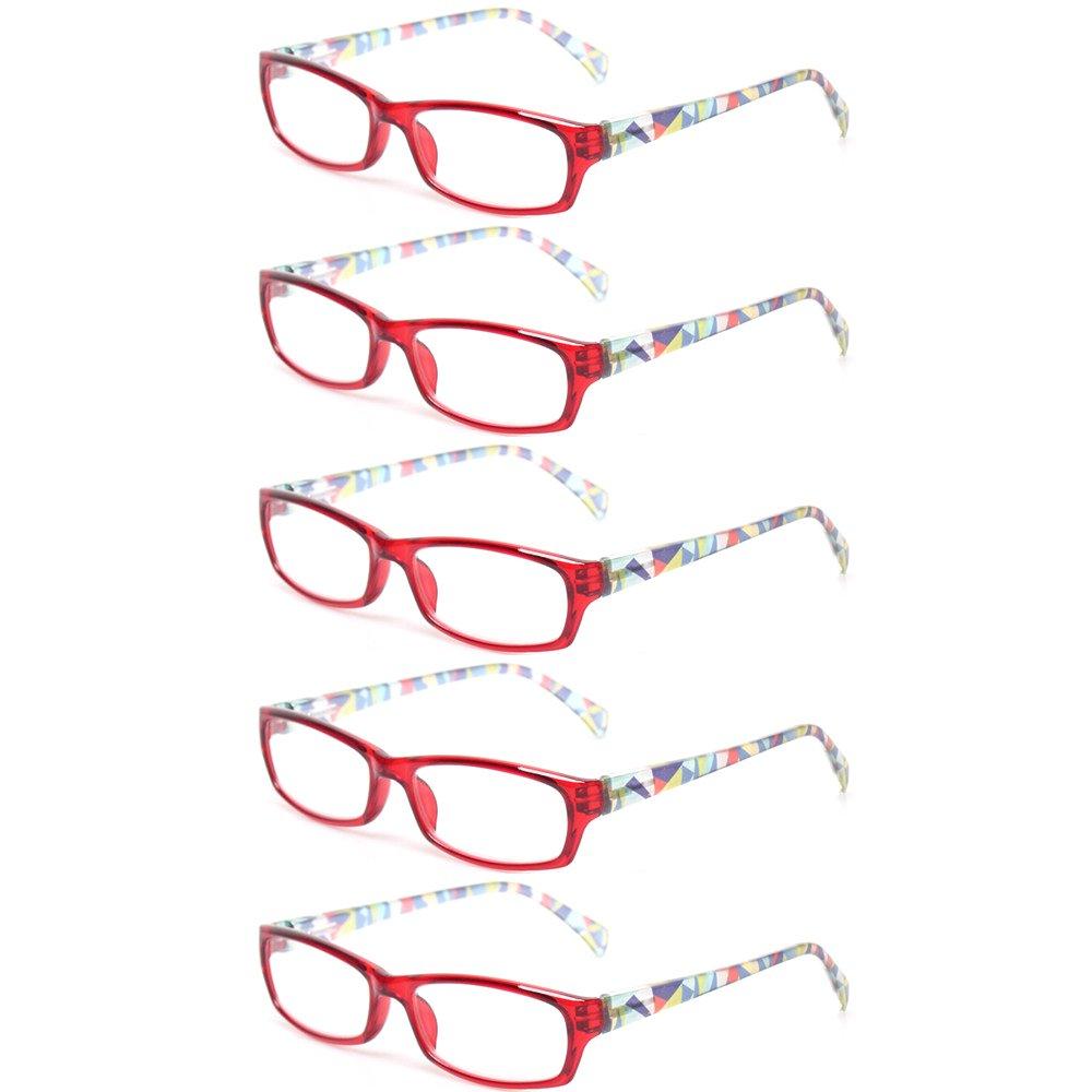 c602dbb79b99 Kerecsen 5 Pairs Fashion Ladies Reading Glasses Spring Hinge Pattern Design  Readers product image