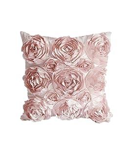 Cosanter - 1 x Rose Fiori Design Federa per Cuscino Guanciale in Lino Divano Decorativo per la Decorazione Domestica, Soggiorno, Camera, da Letto, Divano (Rosa)