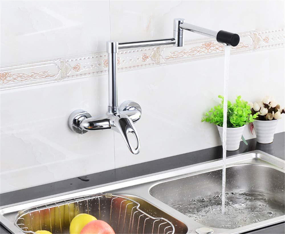 Oudan Luxury Folding Brass Kitchen Faucet Wall Mounted Faucet Swivel Spout Valve Mixer Tap (color   -, Size   -)