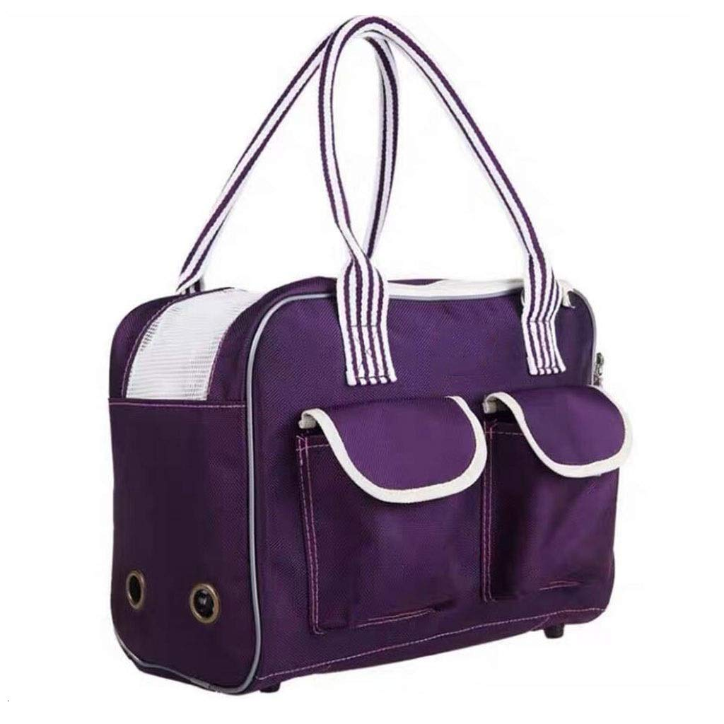 Purple 351726cm purple 351726cm FJH Pet Box Cage Carrying Cats And Dogs Portable Travel Transport Car Out Of Consignment 2 colors (color   Purple, Size   35  17  26cm)