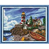 "Cross Stitch Stamped Kits Cross-Stitching Accurate Pre-Printed Pattern for Adults- The Seaside Lighthouse 11CT 27""X 22"", for"