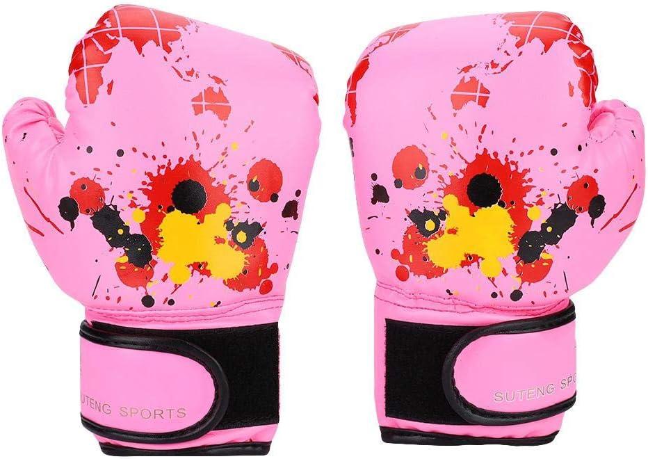 キッズボクシンググローブ ポリウレタンレザー ボクシングカートゥーンファイトミット 子供用スパーリングとトレーニングボクシンググローブ ピンク