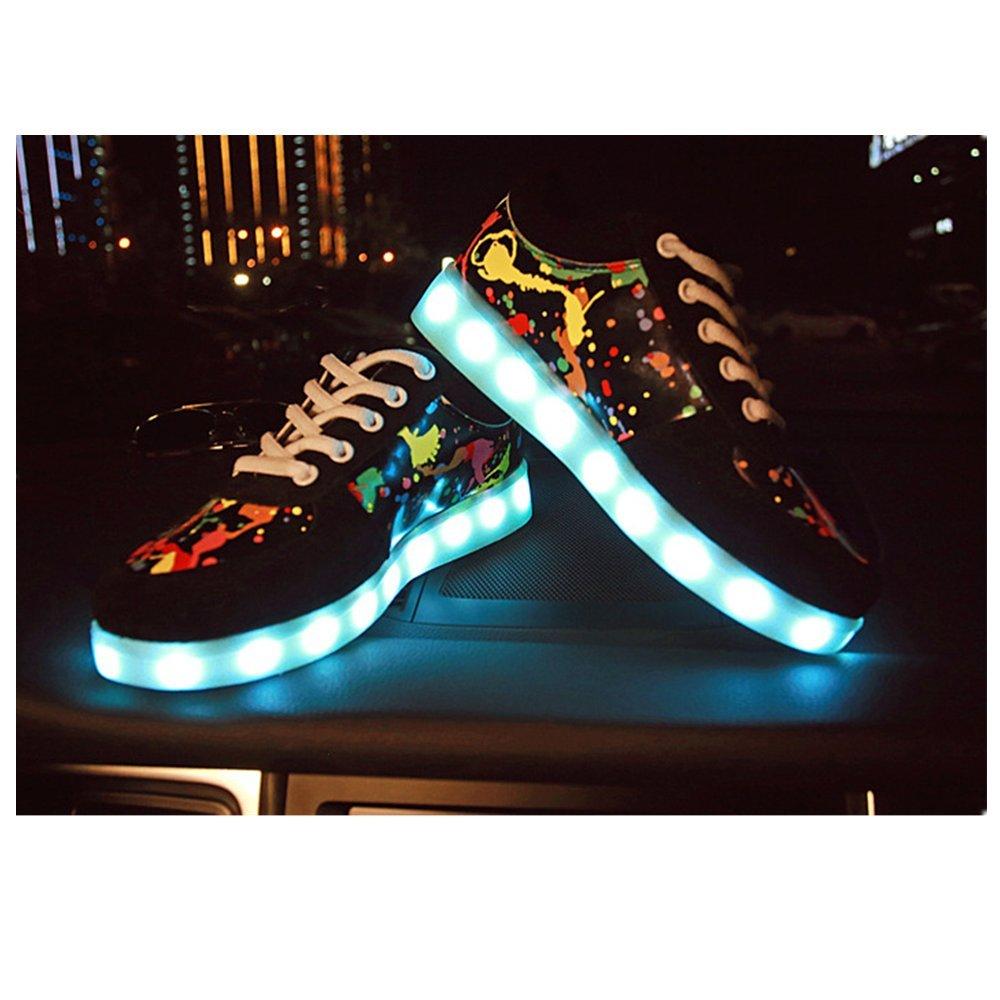 Sabe 7 Colors Luminous LED Shoes Women and Men Print Sneakers(USB Charging) B074ZN89WT EU 43****Men 10 D(M) US|Print