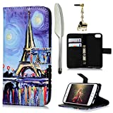 iPhone 7 (2016) Case, MOLLYCOOCLE Stand Wallet Premium PU Leather Kickstand Magnetic Closure Design Credit Card Holders Slots Flip Folio Protective Slim Fit Skin Cover for iPhone 7 (2016),Eiffel Tower