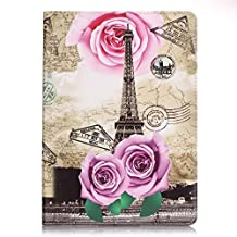 iPad Air 2 Case,Ngift [Rose Eiffel Tower] [Wallet Function] PU Leather [Kickstand Feature] Folio Leather Stand Shell Flip Case Cover for Apple iPad Air 2 (iPad 6) 2014 Model