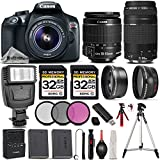 Canon EOS Rebel T6 DSLR Camera + Canon EF-S 18-55mm f/3.5-5.6 IS II Lens + Canon EF 75-300mm f/4-5.6 III Lens + Digital Camera Flash - All Original Accessories Included - International Version