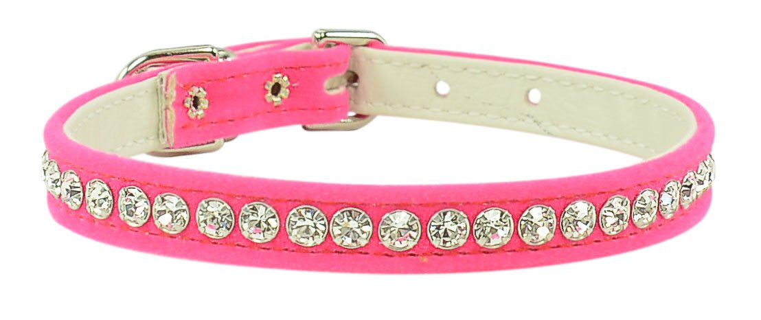 Evans Collars 3 8  Jeweled Collar, Size 12, Velvet, Pink
