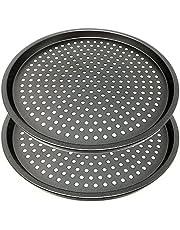 Space Home - Moules à Pizza Perforées - Plaque à Pizza Anti-Adhésive - Set 2 - Acier au Carbone - Ø 29 cm
