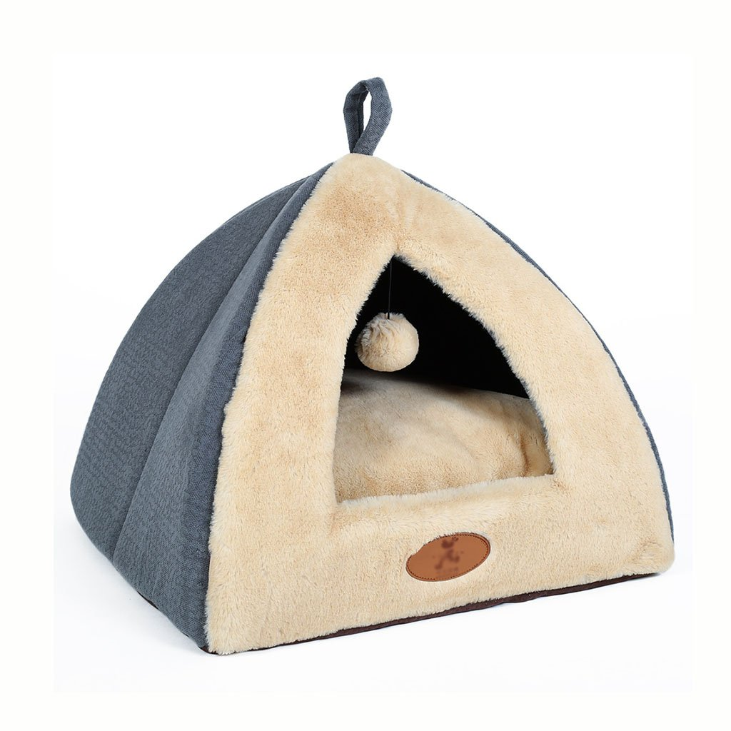 BEDS Dogs Furniture cat with Hanging Ball Oxford Cloth with Removable Cushion Soft portable pet house 40  40  34cm