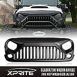 Xprite Gladiator Vader Front Matte Black Grille Grid Grill for Jeep Wrangler Rubicon Sahara Sport JK JKU 2007-2017