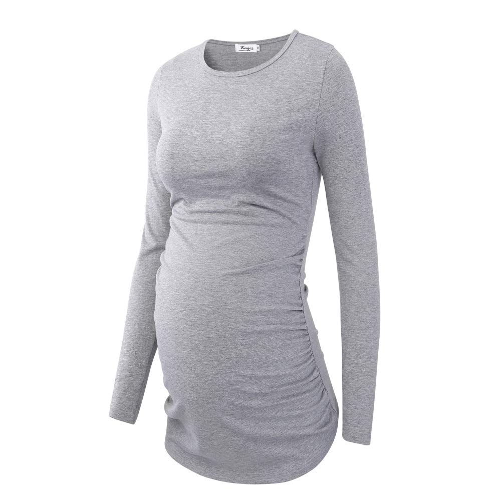 57496dc9 Happy-Life-House Women's Maternity T Shirt Mama Ruched Tunic Tops Long  Sleeve Scoopneck Pregnancy Clothes (Grey, Medium)