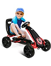 Costzon Pedal Go Kart, Pedal Powered Kids Ride on Car Toy, Children's 4 Wheels Riding Car Crazy Cart w/ Adjustable Seat, Foot Pedal, for Boys & Girls Age 3 to 8 Years Old, Indoor & Outdoor (Black)
