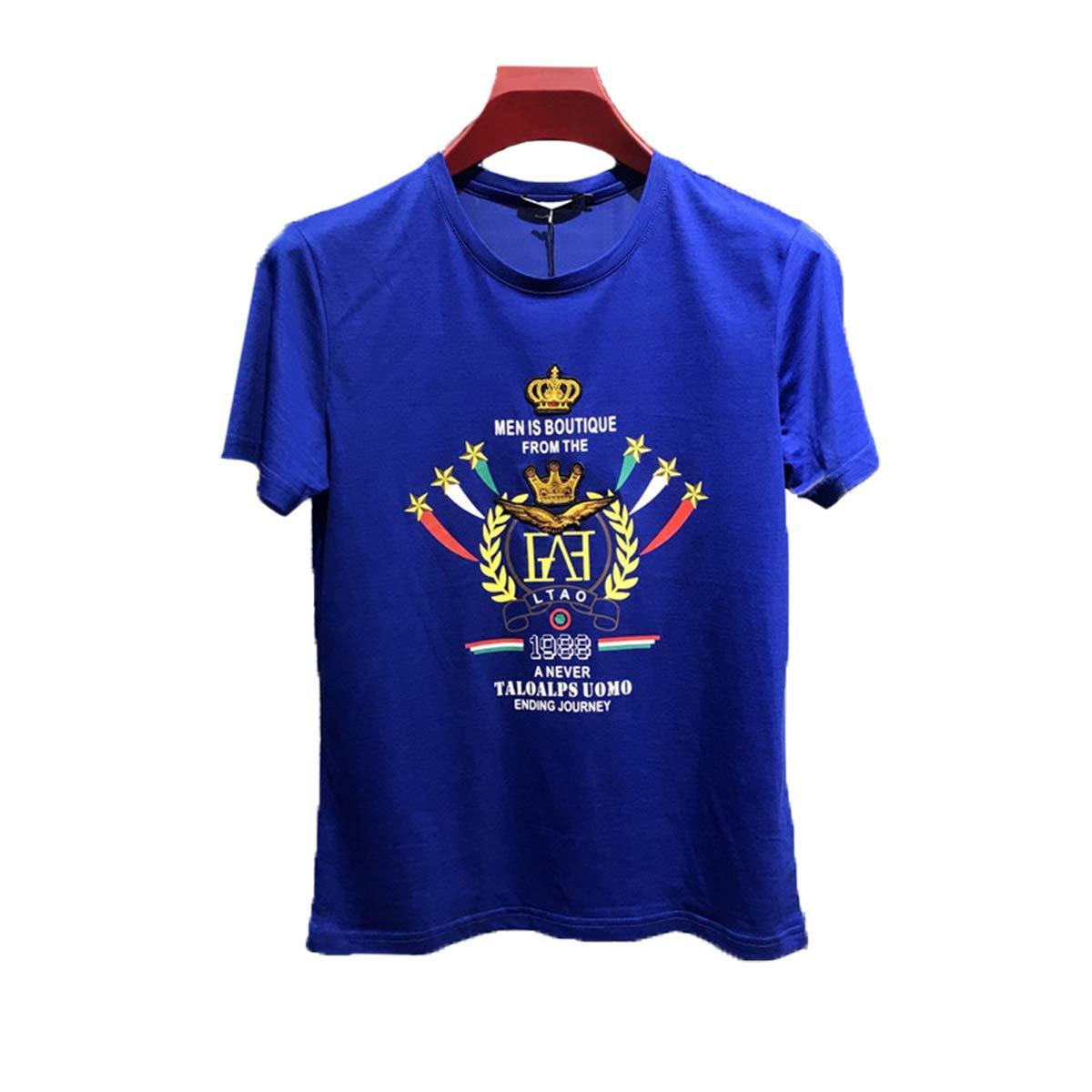 bleu 3XL T-Shirt à Manches Courtes De Crown Tee Shirt Décontracté pour Homme