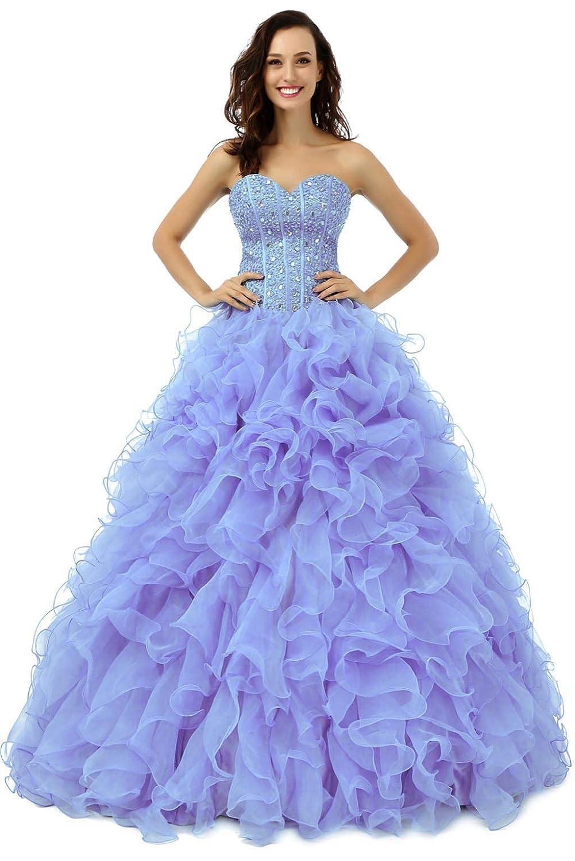 Lavender Vantexi Women's Ruffled Organza Ball Gown Prom Quinceanera Dresses