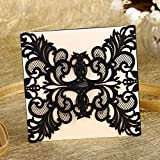 YUFENG Laser Cut Wedding Invitations Cards Kits Kit for Marriage Engagement Birthday Bridal Shower (60pcs Black)
