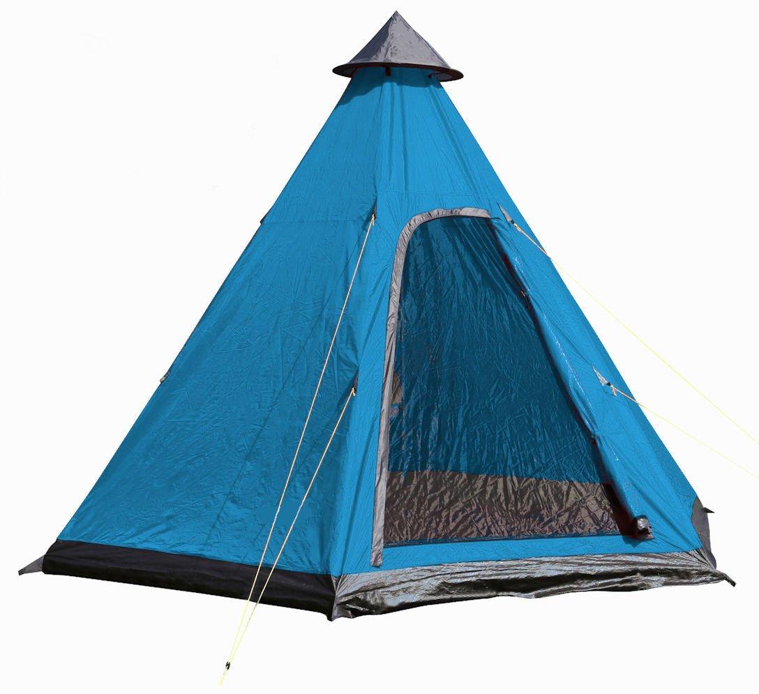 Camping Zelt für 4 Personen - Pyramidenzelt in / 350 x 300 cm - Familienzelt Tipi Rundzelt