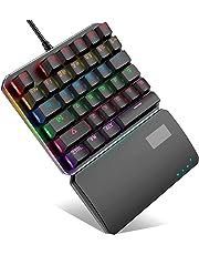 BEBONCOOL Mechanische Tastatur, 7 Farben LED Beleuchtete Gaming Tastatur mit 35-Tasten Blau Schalter Metall Platte, 100% Anti-Ghosting Mechanisch Gaming Tastatur mit 1.7m USB-Kabel für PC Handy Gamer