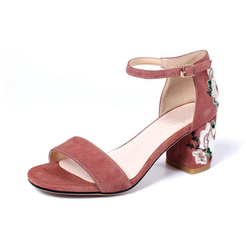 Pink High Heel Sandals Real Leather Ankle Strap Thick Heel Print Sandals Elegant Vintage shoes