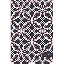 """Notes: 6""""x9"""" Unruled Blank Notebook Elegant Purple Botanic Garden Round Cross Leaf Frame Seamless Pattern Cover. Matte Softcover Note Book Journal"""