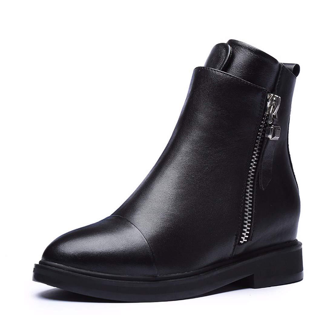 BeatinToes Stiefel Damen Herbst Winter Warm Wasserdicht Anti Slip Leder Martin Stiefel Reine Farbe Square Ferse Casual Schuhe Stiefel Mode
