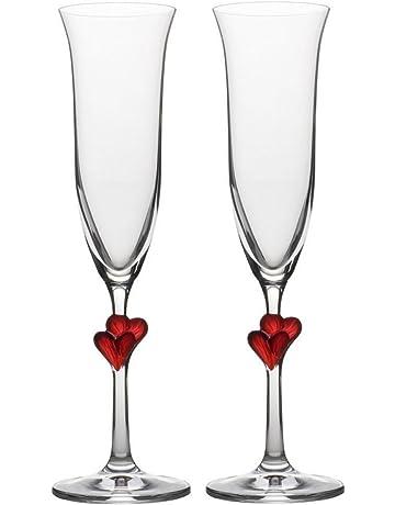 Copas para vino espumoso L´Amour de Stölzle Lausitz con corazones rojos, de 175