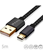 5m Nylon Micro USB Kabel schwarz, USB auf Mikro USB Ladekabel, Goldstecker, geflochtenes Kabel (Braided), PS4 Ladekabel 5 Meter