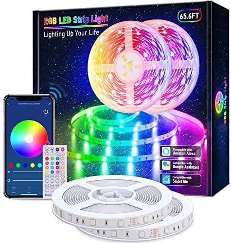 Lijun Smart LED Strip Lights, 65.6ft WiFi RGB Rope Light Work with Alexa Google Assistant, Remote App Control Lighting Kit, Music Sync Color Changing Lights for Bedroom, Living Room