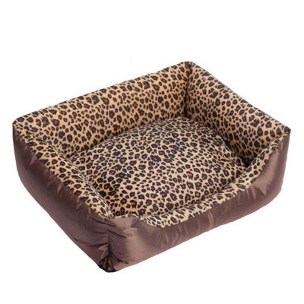 Kennel Pads Dog Beds Autumn and Winter pet nest Leopard Pattern Square Washable pet Sofa Bed Cat Bed Pet Supplies Cover