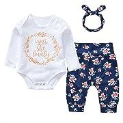 3Pcs Cotton Newborn Baby Girls Tops + Flower Pants + Headband Clothes Outfits Set (White#2, 0-6 Months)