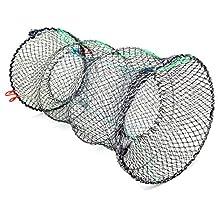 "Jmkcoz 1PC Crab Trap Crawfish Lobster Shrimp Collapsible Cast Net Fishing Nets 10"" x 17.7"" (25cm x 45cm) Black Portable Folded Fishing Accessories"