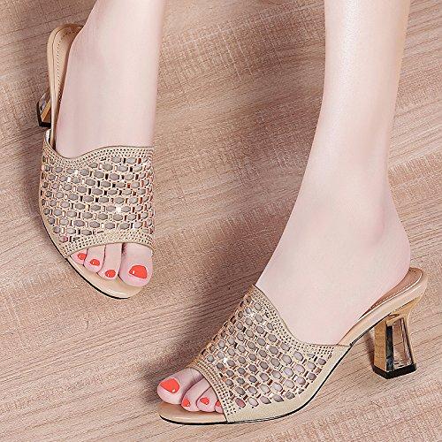 KPHY Diamond Cool Drag Mode Mittlere Ferse Hausschuhe Cm Wort Drag 6 Cm Hausschuhe Joker Damenschuhe Golden 05d56b