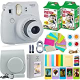 DEALS NUMBER ONE 40 Film Fujifilm Instax Mini 9 Camera + Fuji Instax Film (40 Sheets) + Accessories Bundle - Carrying Case, Color Filters, Photo Album, Stickers, Selfie Lens + More, Smokey White