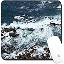 Luxlady Suqare Mousepad 8x8 Inch Mouse Pads/Mat design IMAGE ID: 34355569 Waves rocks stones on the Ocean from above View from lighthouse Matara Ceylon Sri Lanka