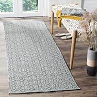 Safavieh Montauk Collection MTK333L Handmade Flatweave Ivory and Blue Cotton Runner (23 x 8)