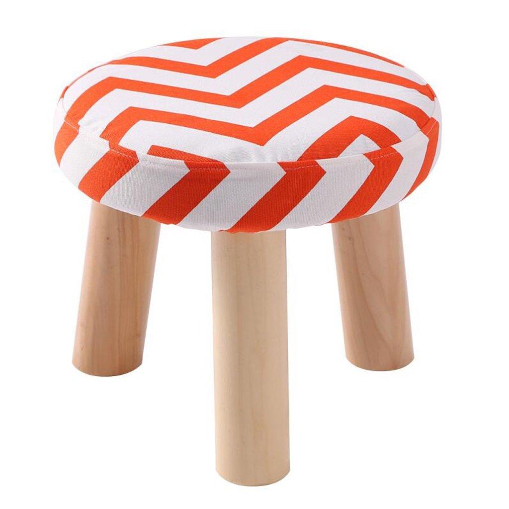 Rollsnownow Orange Stripes Taburete de Tres Patas de algodón Redondo de Lino del paño del Zapato Zapatos Lavables del hogar (28  28  25 cm)