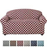 Form Fit, Slip Resistant, Stylish Furniture Shield/Protector Featuring Lightweight Twill Fabric. Brenna Collection Basic Strapless Slipcover. by Home Fashion Designs Brand. (Loveseat, Burgundy)