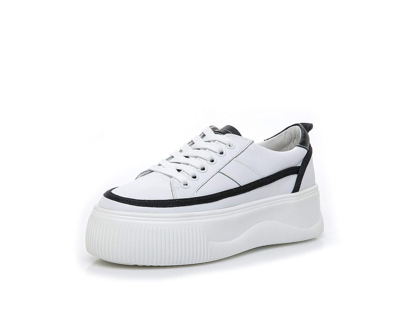 KPHY Damenschuhe Dicksohlige Frauen Schuhe Leder Muffin-Sole Dicksohlige Verstärken Freizeitsport Laufen Patchwork-Mode Weiße 39