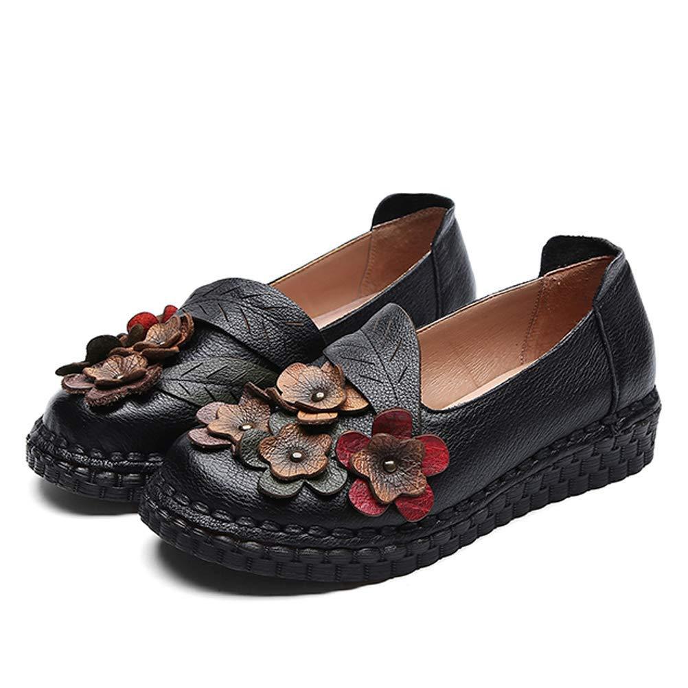 Qiusa Frauen Frauen Frauen Blaume Leder Slip auf Loafers Vintage Pumps Schuhe Mokassins (Farbe   Schwarz Größe   5.5-6 UK=40 Asian) f00ef5