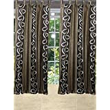 "Mogulinterior Spanish Scrolls Curtain Window Single Brown Panel Christmas Home Decor (48""X108"")"