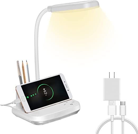 Amazon.com: LED Desk Lamp, NovoLido Rechargeable Desk Lamp with USB Charging Port & Pen Holder, 3 Color Modes & Night Light & Stepless Dimming, Flexible/Portable/Eye-Caring Lamp for Dorm Bedroom Reading, White: Home Improvement