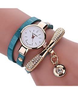 Pendentif Dame Femmes Mode Bracelet Rond Montre Créative Perle Pendentif Montre Montre Ultra Mince Bracelet Quartz avec Strass Bleu (avec Piles Bouton)
