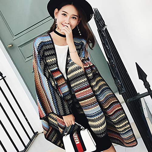 A Warm Winter Scarf National Wind Shawl Female Spring and Autumn Female Tourist Cloak Scarf Thick air Conditioning Cloak (Size   B) Neck Scarf