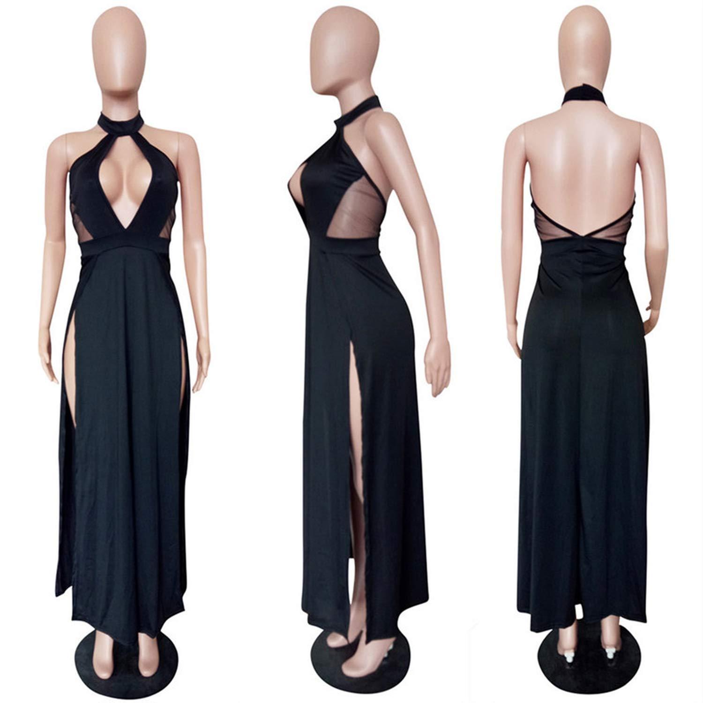 Black dress colorful Dream Sexy Backless Dress Long Women Halter Strapless Splicing Knit Disco Dress Sleeveless Dresses
