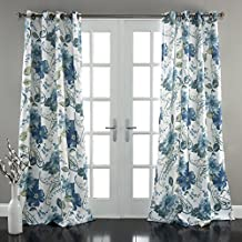 "Lush Decor Floral Paisley Window Curtain Panel (Set of 2), 84 x 52"", Blue"