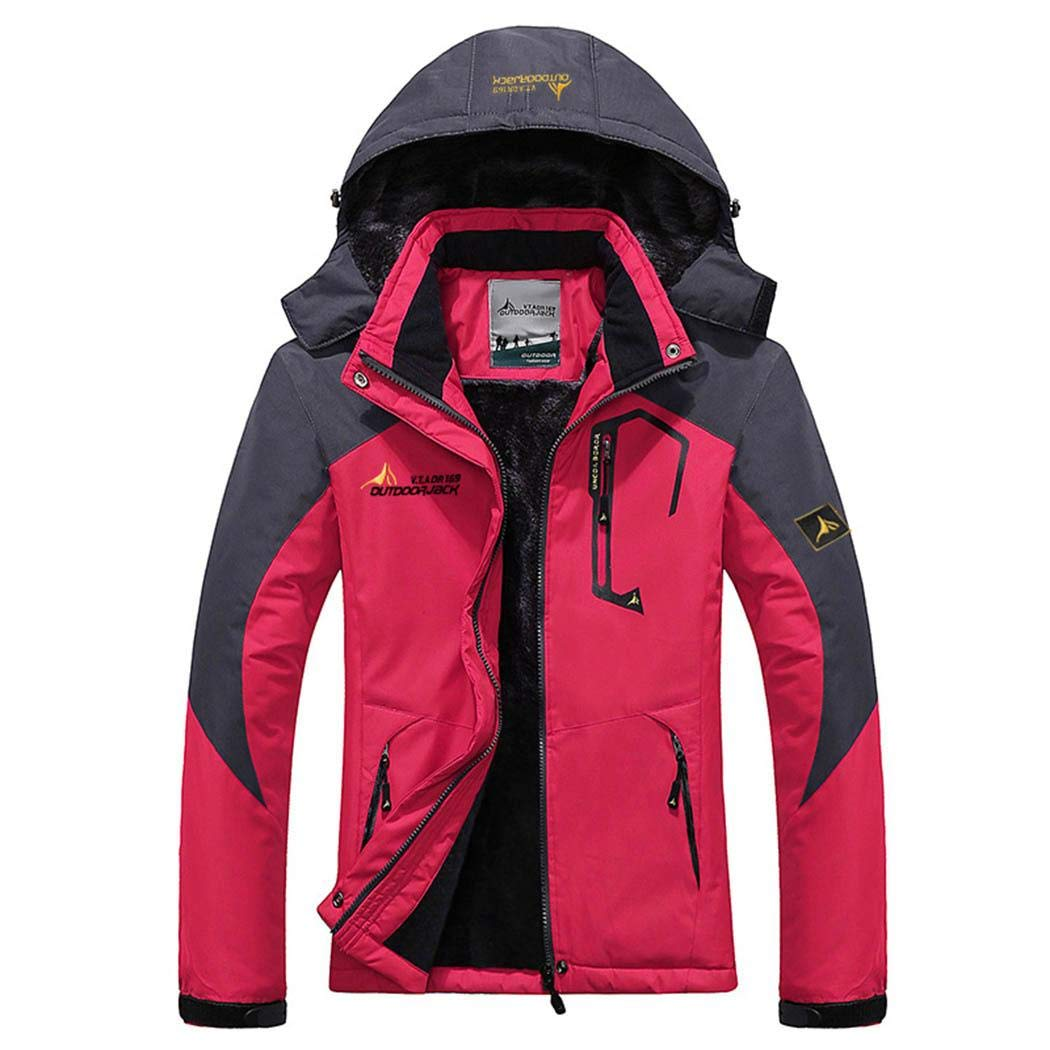 pink red Jinymo New Fashion Women Hooded Long Sleeve Patchwork Zipper Outdoor Outwear Casual Jackets