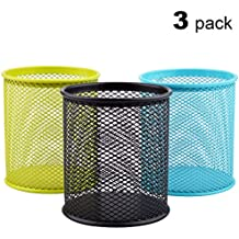 MaxGear Mesh Pen Holders Metal Pencil Holder Pen Organizer Pencil Holder for Desk Office Pencil Holders 3 Pack for 3 Colors: Green/Blue/Black