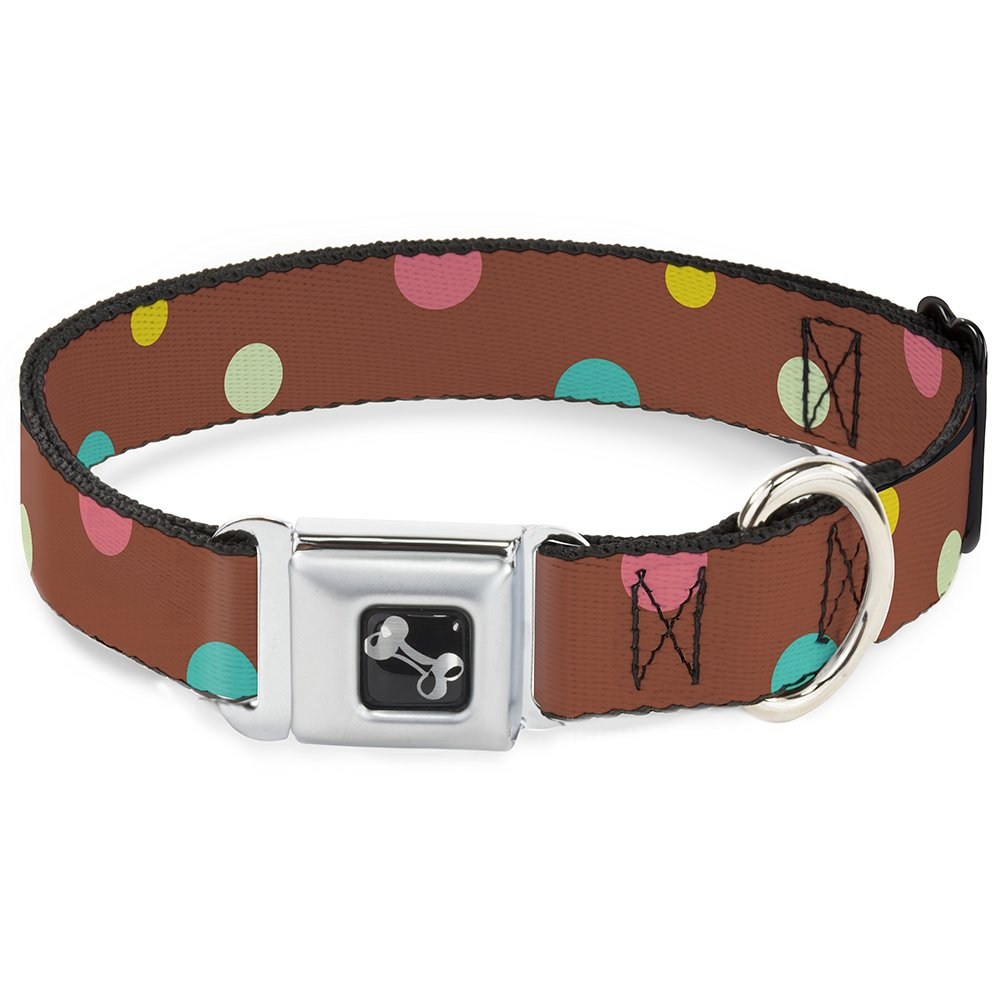 Buckle-Down Seatbelt Buckle Dog Collar Dots Brown Multi Pastel 1.5  Wide Fits 18-32  Neck Large
