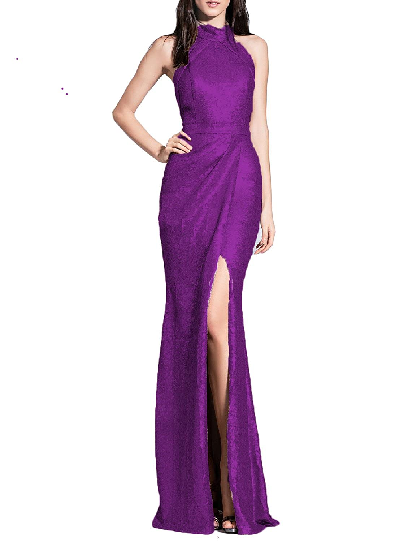 Purple YSMei Women's Long Sequins Halter Evening Prom Dress Split Party Gowns YSQ90