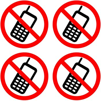 dealzepic no cell phonemobile phone is prohibited sign self adhesive vinyl decal sticker pack of 4 pcs