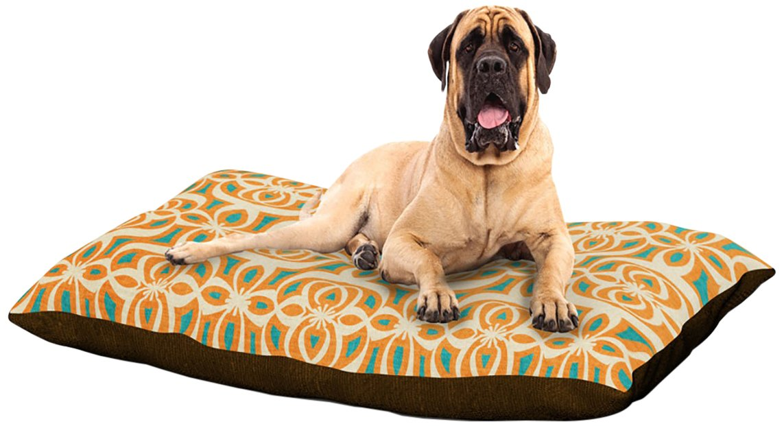X-Large 40\ Kess InHouse Catherine McDonald Swan Lake Turquoise  Dog Bed, 50 by 60-Inch, Teal orange